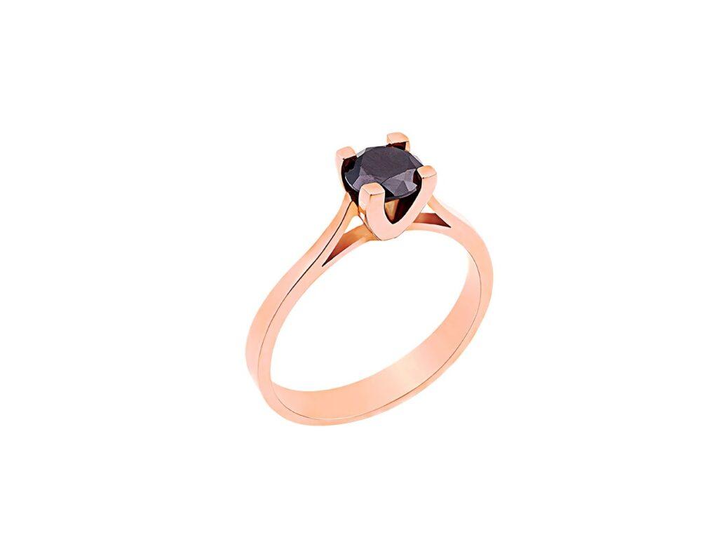 Μονόπετρο δαχτυλίδι από ροζ χρυσό με μαύρο διαμάντι