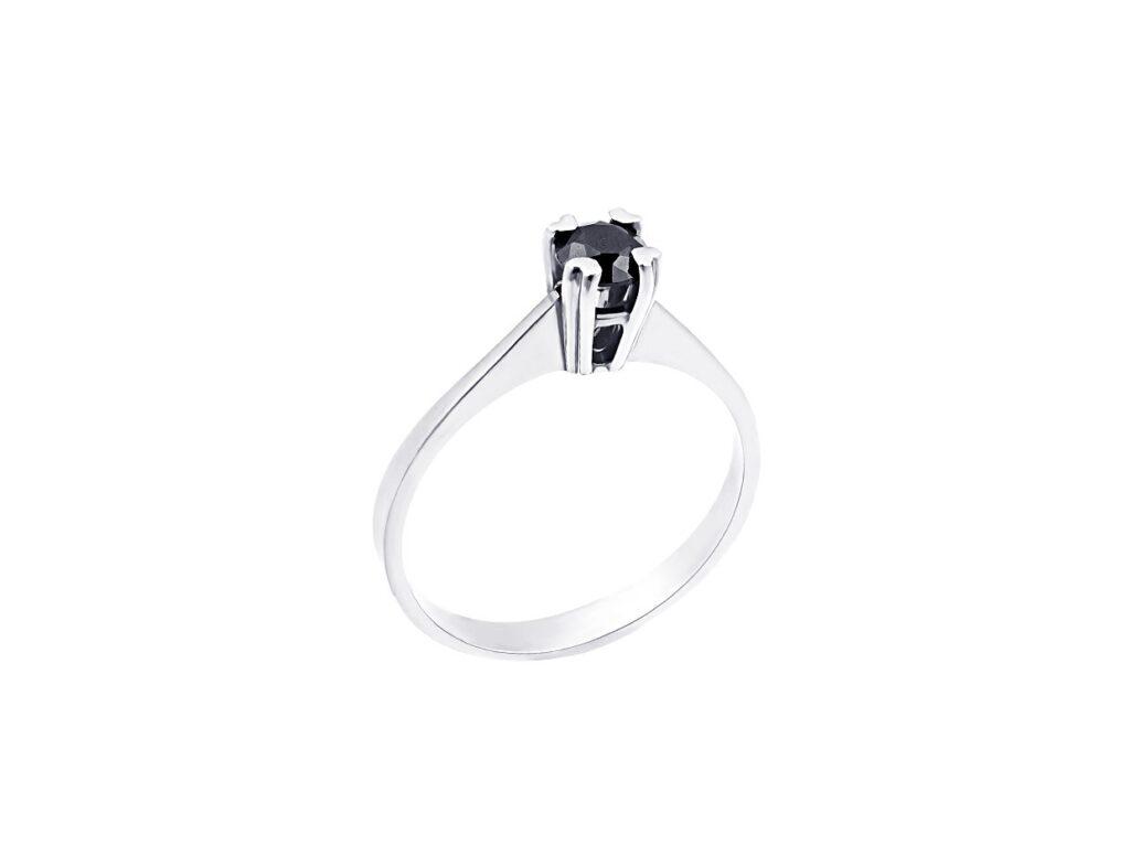 Λευκόχρυσο μονόπετρο δαχτυλίδι με μαύρο διαμάντι